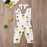 Emmababy Neugeborenen Baby Mädchen Kleidung Sleevless Rüschen Ananas Print Romper Overall Stirnband 2Pcs Outfits Kleidung Sommer
