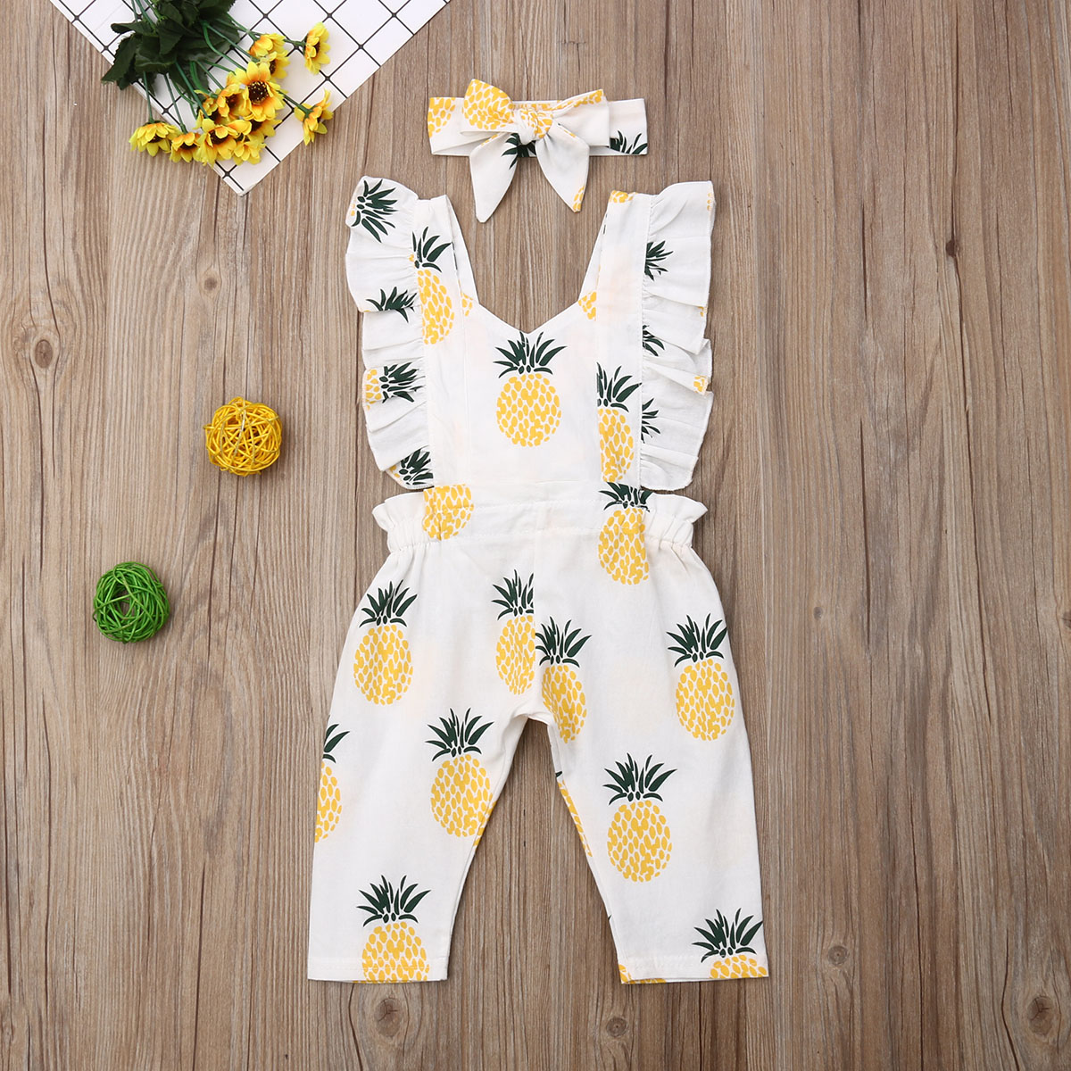 Emmababy Newborn Baby Girl Clothes Sleevless Ruffle Pineapple Print Romper Jumpsuit Headband 2Pcs Outfits Clothes Summer