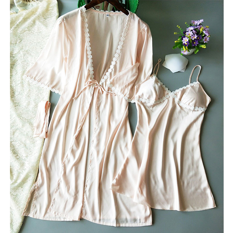 Model Silk Slip Nightdress Nightgown Bathrobe Two-Piece Set Sexy Pajamas Women's Comfortable Home Wear With Chest Pad