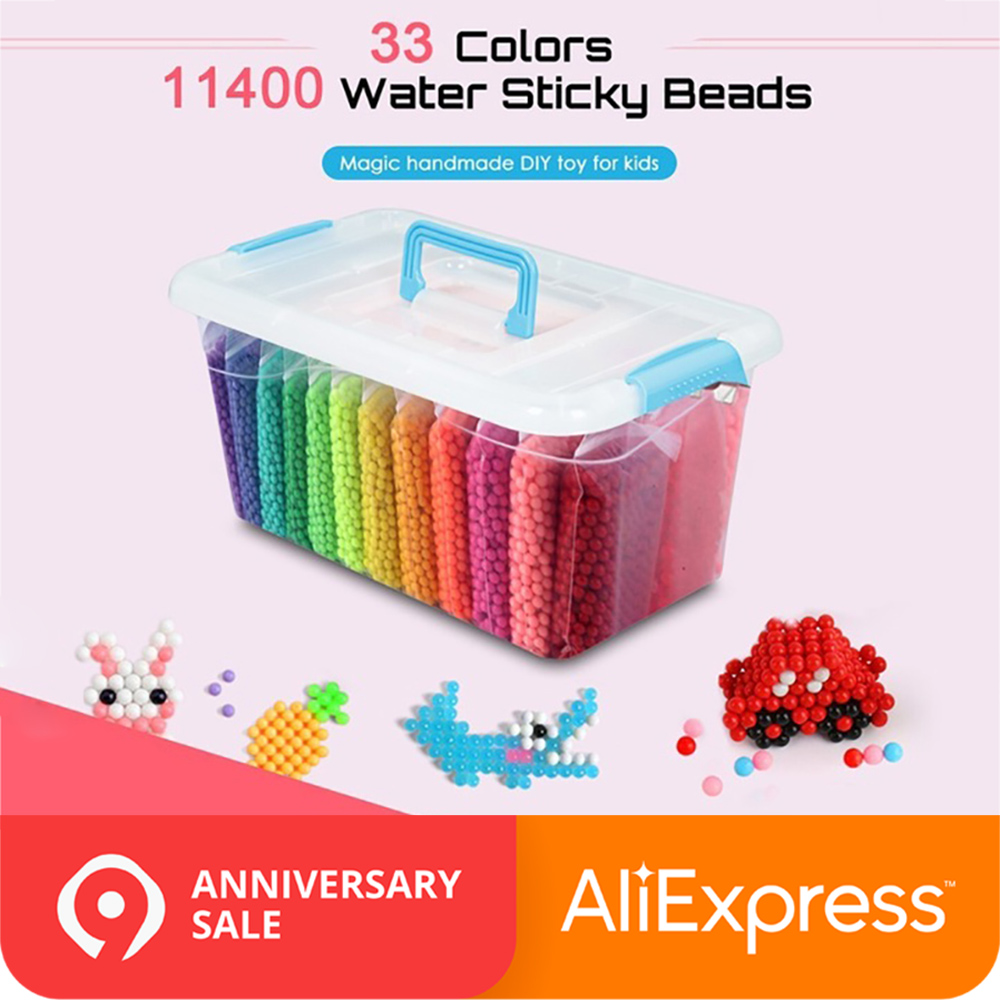 11400pcs Water Sticky Beads Toy DIY String Aquabeads Magic Bead Toy DIY Educational Puzzle Children Aqua Bead Toys For Girls