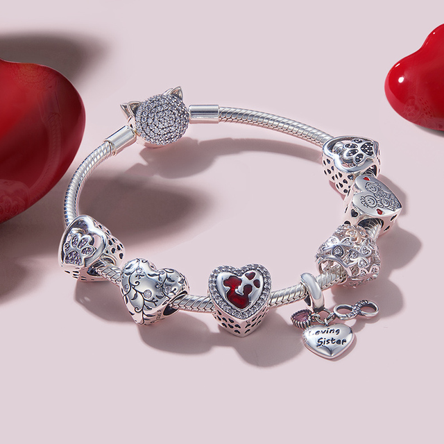 WOSTU 100% Authentic 925 Sterling Silver Heart Shape Charm Mom Beads Fit Original Bracelet Pendant DIY Jewelry Charms Gift 2
