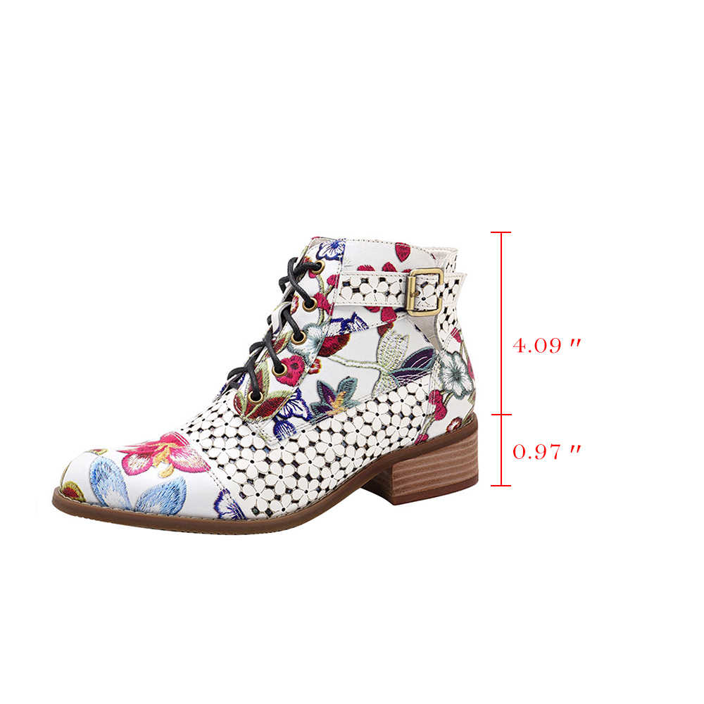 Oeak 2019 moda marka kadın yarım çizmeler baskı çiçek yüksek topuk bayanlar ayakkabı kadın parti dans pompaları temel deri çizmeler
