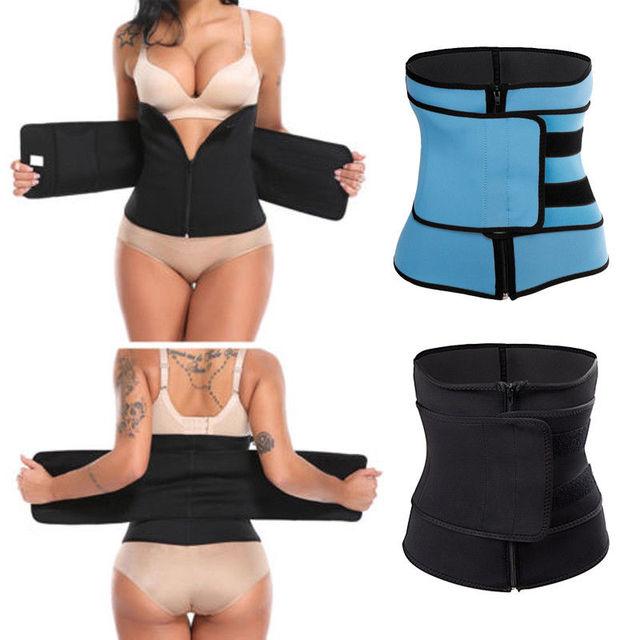 1PC Women Sauna Thermo Shaper Sweat Waist Trainer Belt Slimming Vest Corset Black Blue