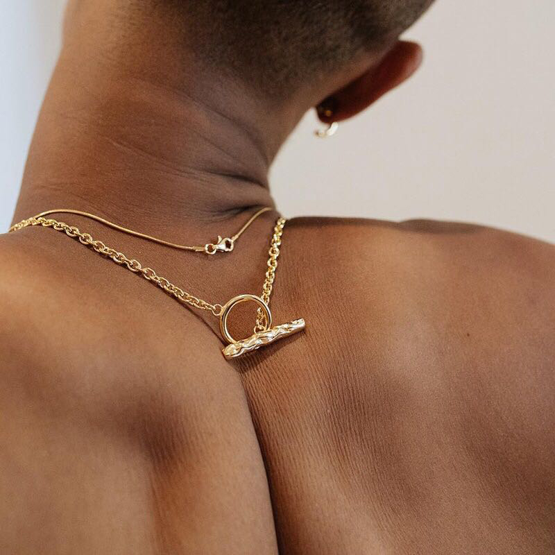 Peri'sBox Hammered Toggle Clasp Gold Necklaces For Women And Men Hip Hop Style Geometric Necklace Minimalist Necklaces Unisex