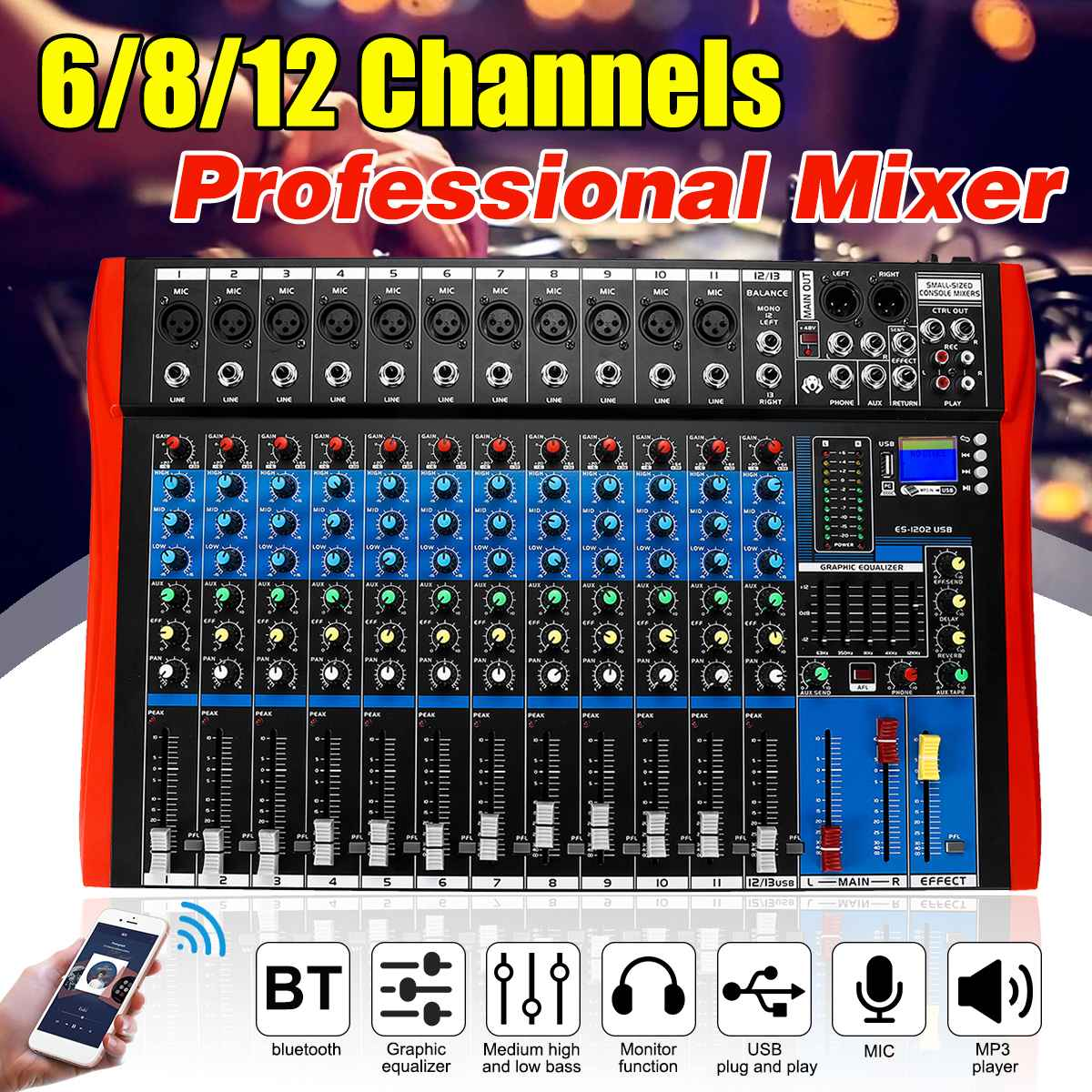 6/8/12 canaux console de mixage mélangeur interface audio mélangeur numérique bluetooth USB charge Audio mélangeur HD DJ lecteur indépendant