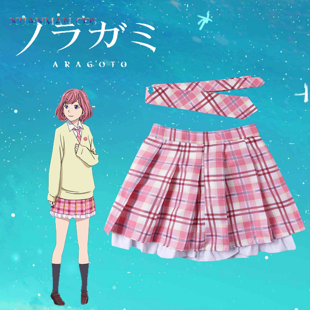 Noragami saia gravata kofuku cosplay traje tutu deuses da pobreza binbougami philabeg miniskirt