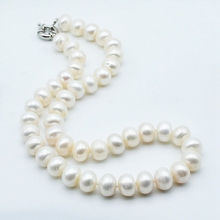 цены Large particle pearl necklace, white freshwater pearl, diameter 11-12mm, ladies necklace, engagement jewelry