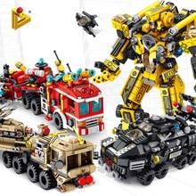 12 في 1 التحول لودر أطفال بالريموت كنترول العسكرية روبوت DIY Legoed نموذج اللبنات كيت التعليم لغز لعب الاطفال هدايا