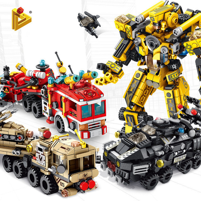 12 In 1 Transformation Engineering Vehicle Military Robot DIY Legoed Model Building Blocks Kit Education Puzzle Toys Kids Gifts