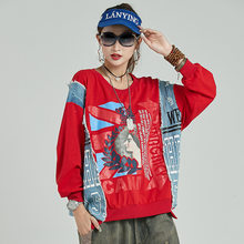 New Punk Cotton Oversized Women Clothes 2019 Korean Fashion Ladies Denim Tops Tees female Patchwork Tshirts Vintage LT809S30(China)