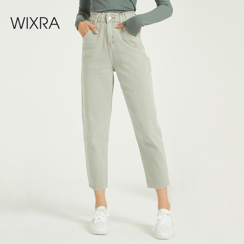 Wixra Casual Women's Femme BF Denim Pants High Waist Pockets Jeans Trousers Spring Autumn Ladies Streetwear Jeans