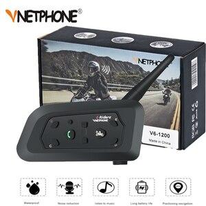 Image 1 - VNETPHONE 1200M 1 adet kablosuz Bluetooth motosiklet kask interkom 6 biniciler interkom kulaklık desteği Mp3 Intercomunicador Moto