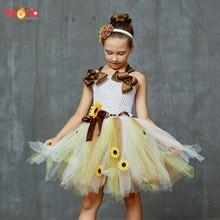Sweet Sunshine Sunflower Tutu กับแถบคาดศีรษะดอกไม้สาวเจ้าสาววันเกิด Costume เด็กชุดฤดูใบไม้ร่วง