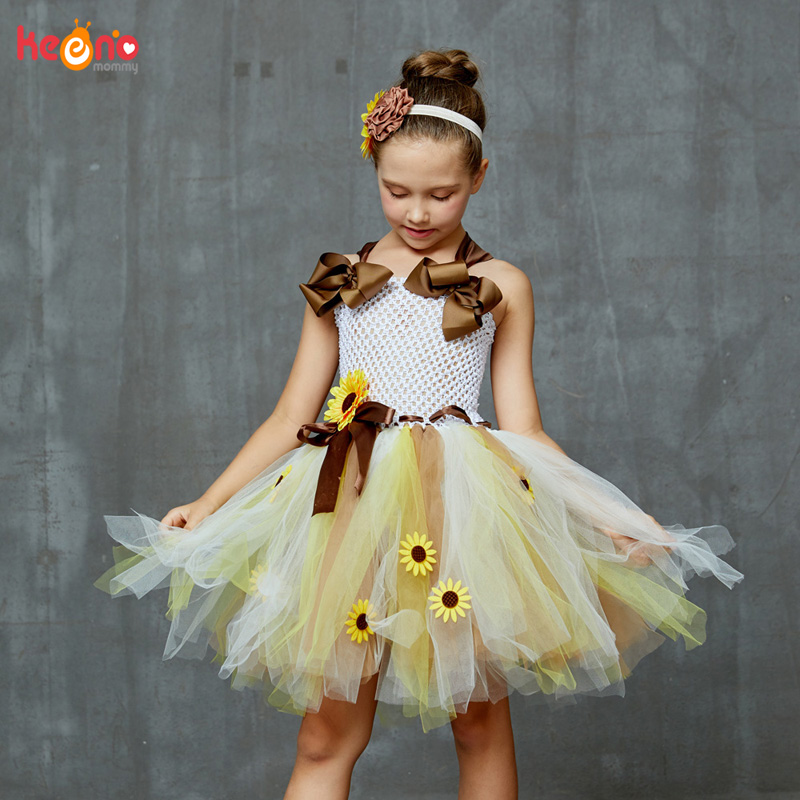 Sweet Sunshine Sunflower Tutu Dress With Matching Headband Flower Girl Bridal Birthday Pageant Costume Kids Autumn Dresses