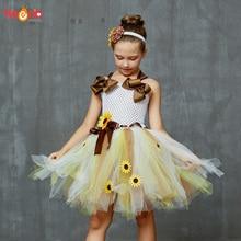 Vestido de tutú de girasol con diadema a juego para niña, vestido de tutú de girasoles con diadema a juego, vestido de novia para concurso de belleza de cumpleaños, vestidos de otoño para niños