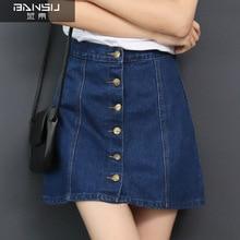 2019 autumn jeans skirt single row short skirt buckle high waist mini skirt was thin A word denim skirt female