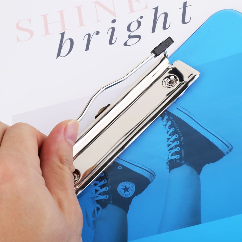 Plastic Clipboard Pad Clip Folder Document Transparent Holder Plate For Paper A4