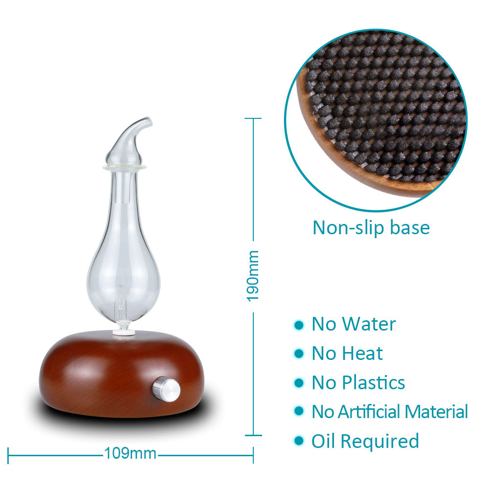Wooden Glass Aromatherapy Pure Essential Oils Diffuser Air Nebulizer Humidifier Household Humidifier Air Conditioning Appliance Pakistan