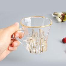 Taza de café transparente de lujo para el hogar, vaso de té pequeño de oro pintado con mango, creativo, de lujo