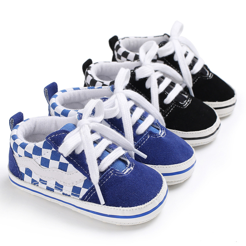 Baby Boys Girls Sport Shoes Cotton Fabric Newborn Toddler Plaid First Walker Shoes Lace Up Infant Baby Sneakers Triursus Brand