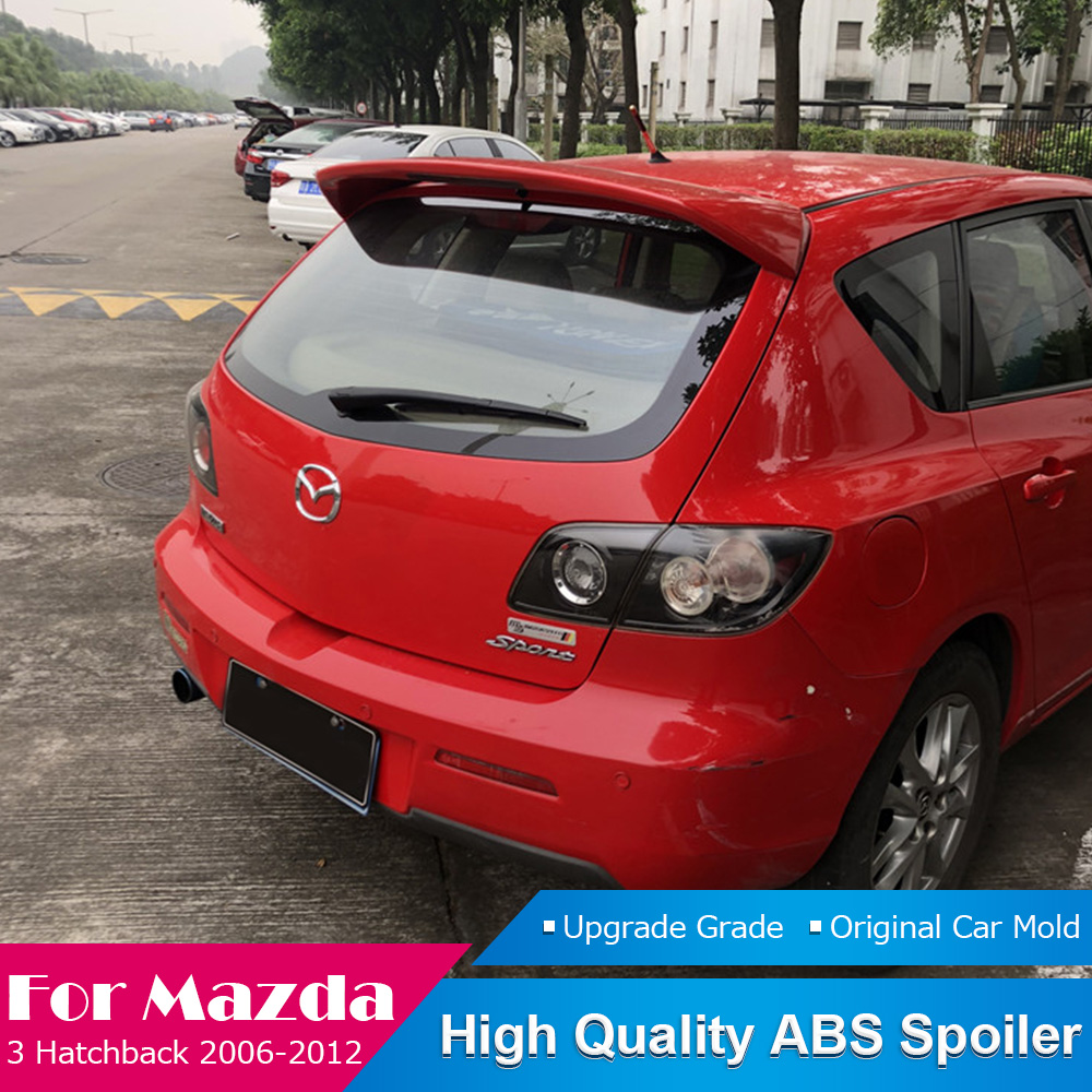 For <font><b>Mazda</b></font> <font><b>3</b></font> Hatchback Black Spoiler 2006 to <font><b>2012</b></font> Rear Spoiler ABS Plastic Car Rear Wing Color Tail Spoiler Car <font><b>Accessories</b></font> image