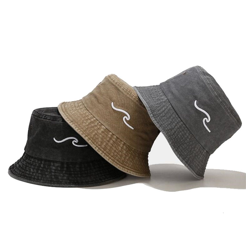 embroidery fisherman hat Washed wave Bucket Hat outdoor leisure Summer Sun Caps Panama Fold Beach Travel Outdoor hats gorras