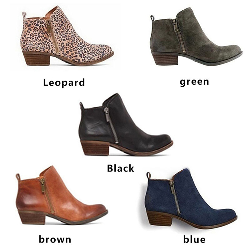 Women Boots Ankle-Boot-Feminina Side-Zipper Female Vintage Winter Fashion Autumn PU