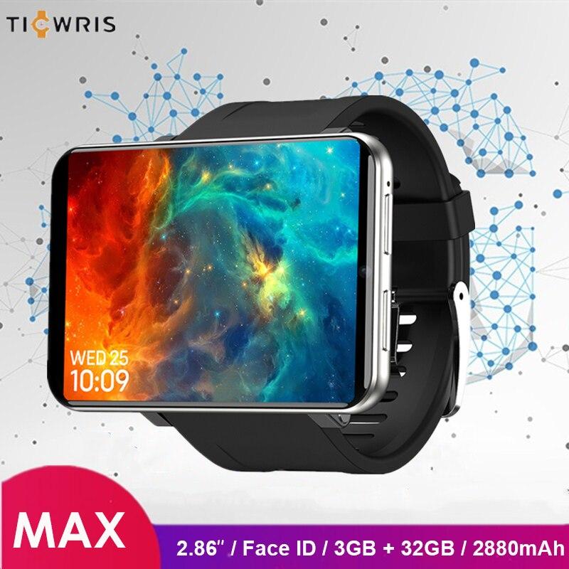 Ticwris Max 4G montre téléphone 2.86 pouces visage ID 2880mAh 3GB RAM 32GB ROM IP67 étanche Android montre intelligente 8.0MP pour iOS Android