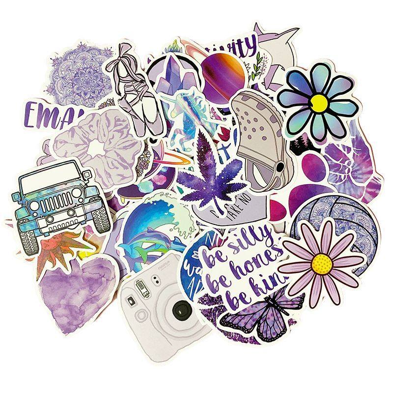 50PCS Cartoon Purple INS Style Vsco Girl Stickers For Laptop Moto Skateboard Luggage Refrigerator Notebook Laptop Toy Sticker F5