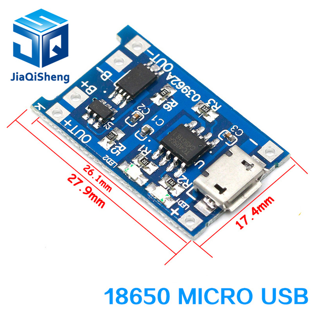 type-c / Micro USB 5V 1A 18650 TP4056 Lithium Battery Charger Module Charging Board With Protection Dual Functions 1A Li-ion 4
