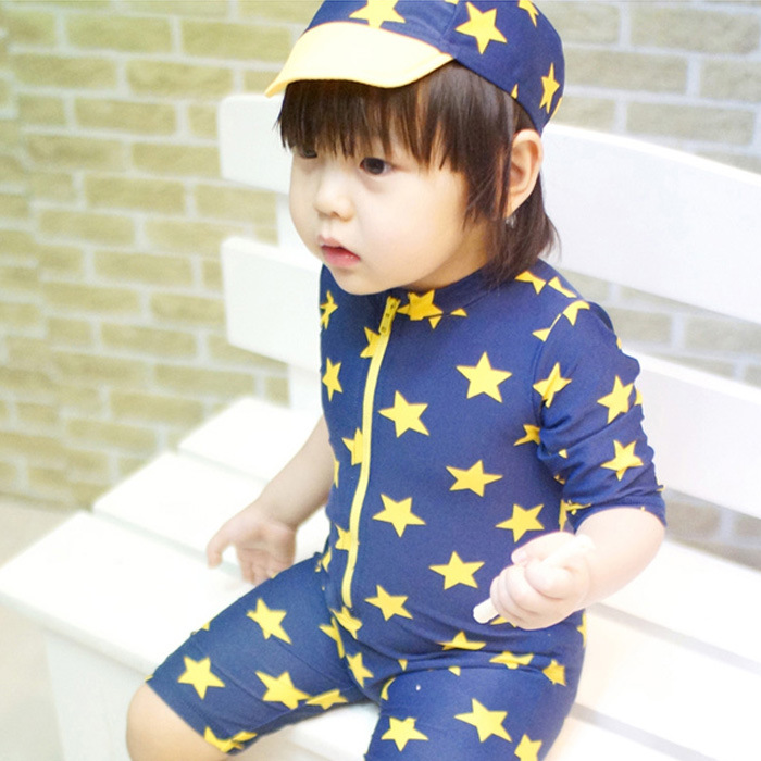 From The Stars You CHILDREN'S Swimwear BOY'S Boy Baby One-piece Swimming Suit Bubble Hot Spring Swimming Trunks With Swim Cap