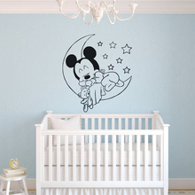 Disney Mickey Mouse Moon Stars Vinyl Wall Decal Good Sleeping Sticker kids Baby Room Decor Nursery Bedroom Mural