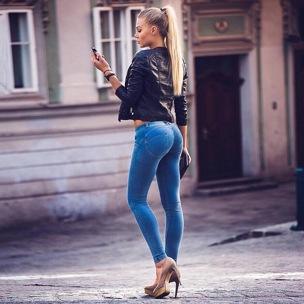 Melody Mid Waist Push Up Jeggings Plus Size Cotton Denim Jeans Sexy Women Super Skinny Stretch Fabric Pants