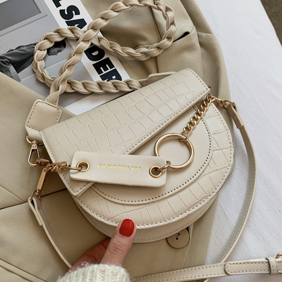 Stone Pattern Semicircle Saddle Bags Pu Leather Shoulder Bags for Women 2021 Fashion Chain Ladies Crossbody Bag Luxury Handbags