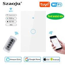 Szaoju touch switch US tandard,white crystal glass panel, Tuya smart 433RF, Ac220v, 1 set, 1 way, wall light, Need neutral wire