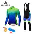 MILOTO, Термальный флисовый велокостюм, Униформа, мужские брюки, горный MTB, велосипедная куртка, спортивный костюм, длинная велосипедная одежда...