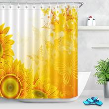 Sunflower Waterproof Shower Curtains Home Decor Butterfly Yellow Flowers Printing Curtain for Bathroom Polyester Bath Screen sunflower butterfly print fabric rustic wood shower curtain set yellow flower waterproof mildewproof bathroom shower curtains