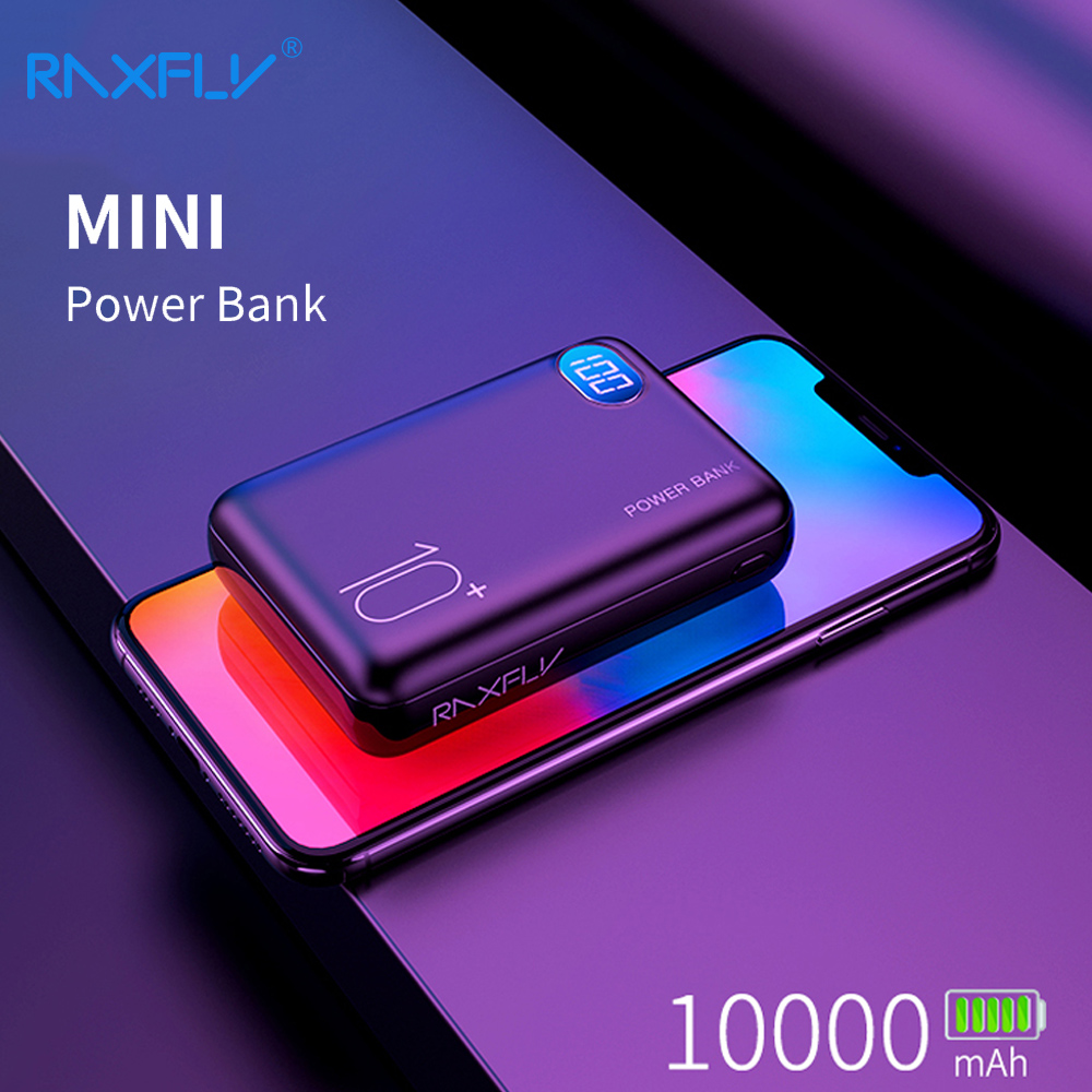RAXFLY Mini mi Power Bank 10000mAh Dual USB Portable Charger Powerbank For Xiaomi External Battery Poverbank 3 Inputs