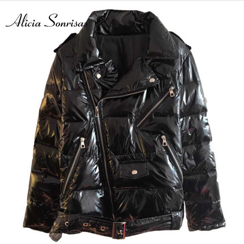 Warm Winter Leather Glossy Jacket Women Black Zipper Windbreaker Vintage 2019 Winter Shiny Down Cotton Coat Female Punk Coats