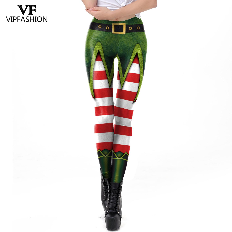 VIP FASHION New Stripe Capri Leggings Women's High Waisted Workout Christmas Seamless Leggins Printed Fitness Leggings