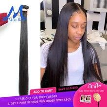 Missblue人毛ストレートブラジル髪織りバンドル30 32 34 38 40インチ100% ヘアエクステンションレミー3 4バンドルグレード10A