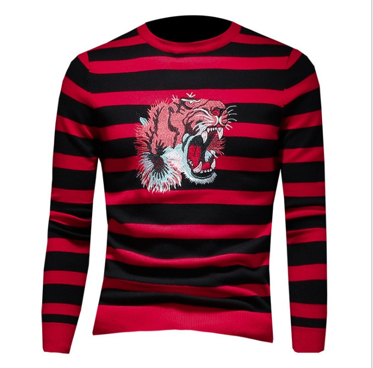 New 2019 Men Luxury Winter Hot Tiger Head Striped Embroidery Casual Sweaters Pullover Asian Plug Size High Quality Drake #M67