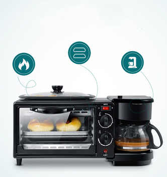 Multifunctional three in one breakfast machine household electric oven toaster frying pan mini oven цена 2017