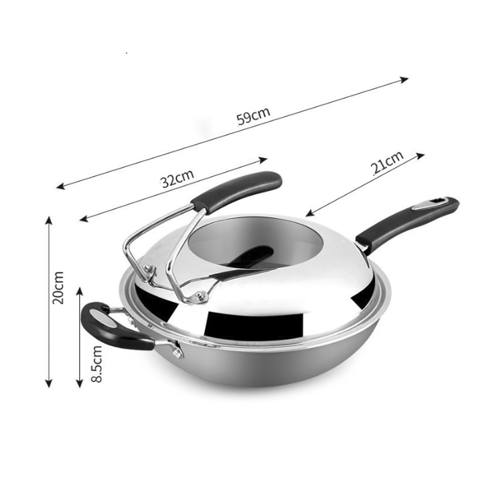34cm 304 Stainless Steel Frying Pan Smokeless Wok Spatula Food Kitchen Fried Egg Honeycomb Non Stick Wok Cookware Uncoated Pot - 2