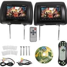7 дюймов черный автомобиль DVD/USB подголовник автомобиля мониторы с ИК передатчик внутренние колонки видео игры FM передатчик