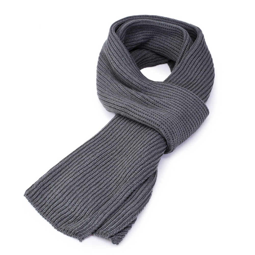 High Quality Men Fashion 2020 Winter Korean Pure Color Knitted Scarf Men's Simple Black Grey Warm Thickened Scarves