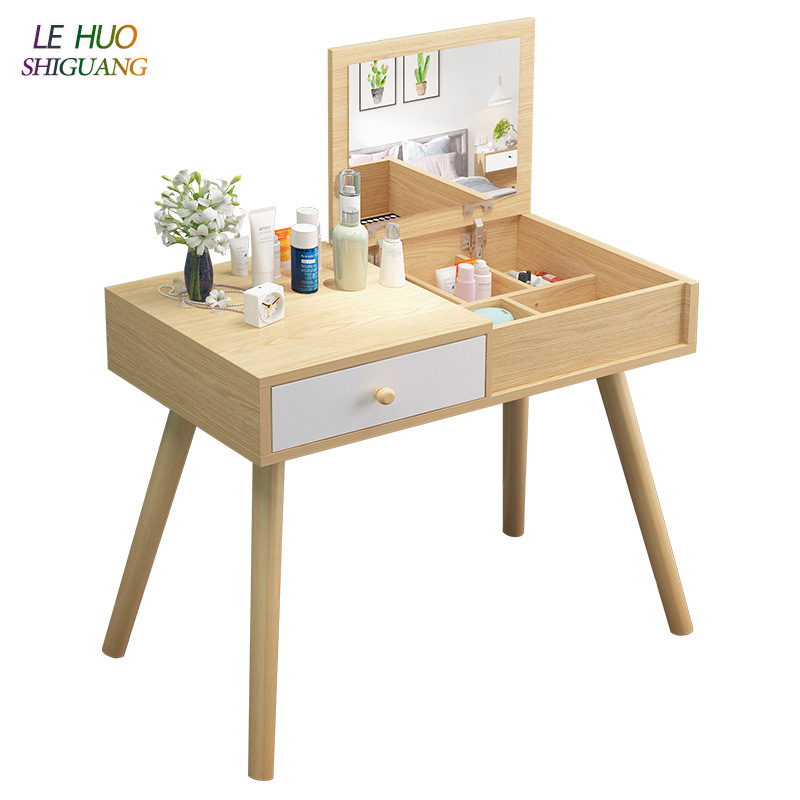Dressers Wooden Mirror Dressing Table Cosmetic Organizer Makeup Storage Cabinet Simple Vanity Fashion For Bedroom Furniture