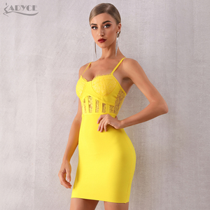 Image 5 - Adyce 2019 뉴 여름 레이스 bodycon 클럽 붕대 드레스 섹시한 민소매 스파게티 스트랩 미니 연예인 이브닝 드레스 드레스 vestido