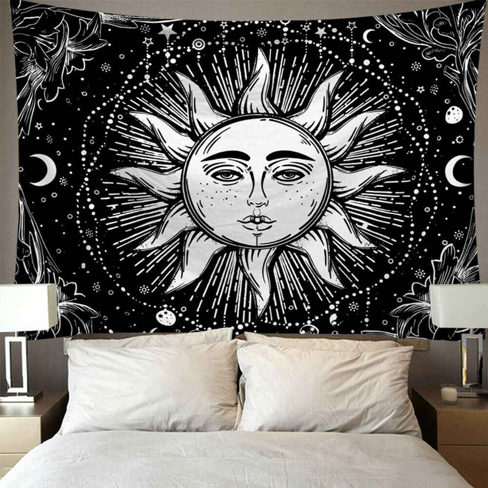 Gothic Sun Skull Tapestry Wall Hanging Mandala Tapestry Bedspread Art Decor