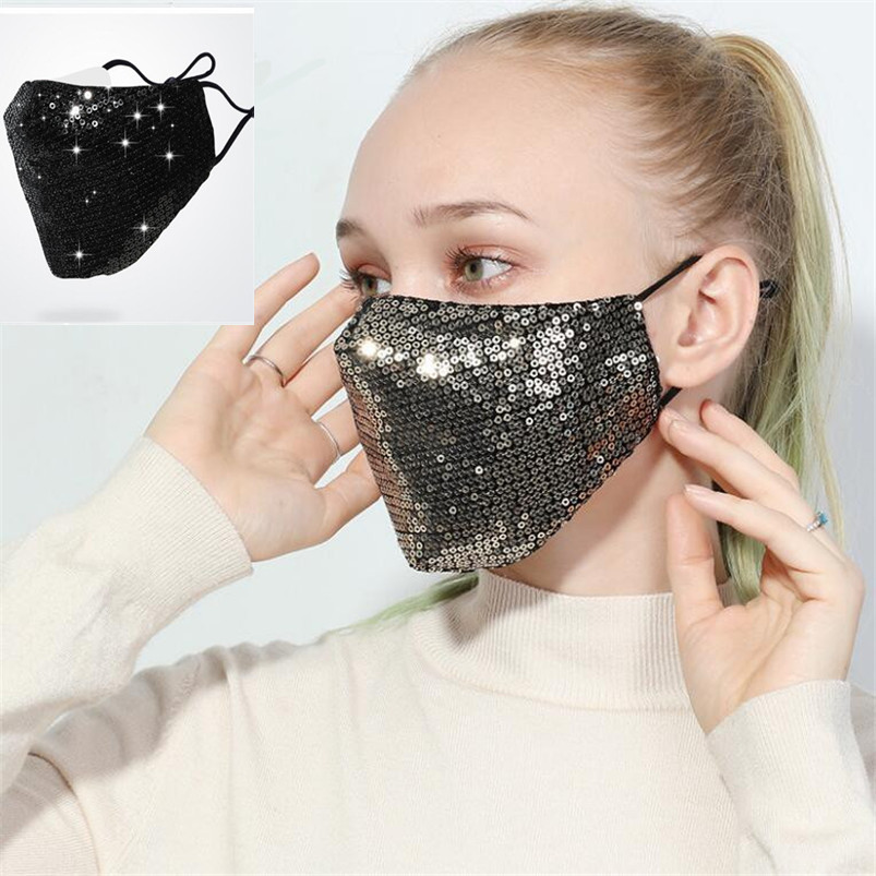 Women Sequins Face Mask Anti-Dust Haze  Proteccion Mask Respirator Reusable Cotton Respirator Mouth Mask